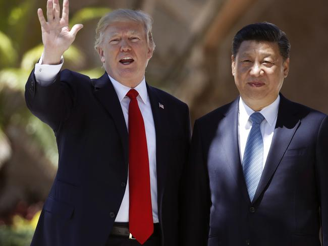 US President Donald Trump and Chinese President Xi met in Florida earlier this month. Picture: AP