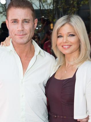 Donna D'Errico with former Baywatch co-star, Aussie Jaason Simmons. Picture: Getty
