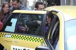 <p>Bev Gambino collapses as she's helped into a taxi. Picture: Alex Coppel</p>