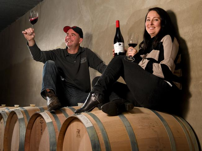 MATCHING: The Lane winemaker Michael Schreurs with employee Emma Polson and the 2015 Block 1 cabernet Merlot.  <b>Picture: </b>Tricia Watkinson