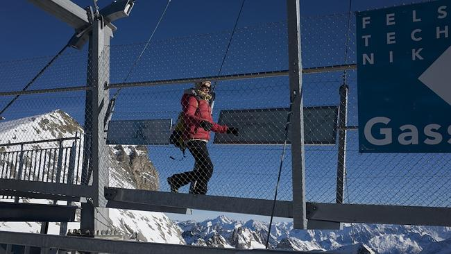 Taking a 'stroll' along the Titlis Cliff Walk. Picture: Tatyana Leonov