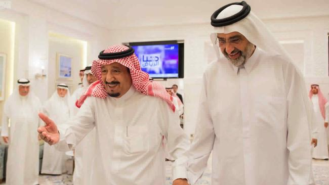 Saudi King Salman with Qatari Sheikh Abdullah bin Ali Al Thani. Picture: Saudi Press Agency via AP