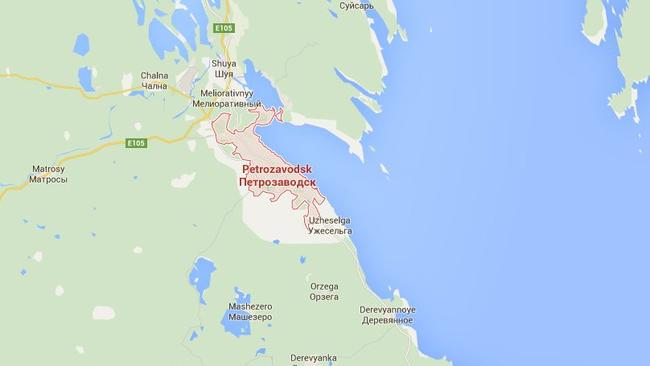 A number of towns and cities surrounding the Russian city of Petrozavodsk were lit up by the unexplained light. Picture: Google.