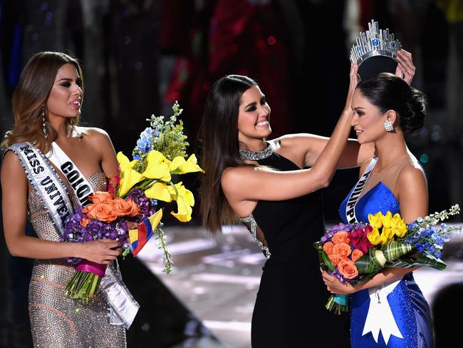 Getting it right ... Miss Philippines 2015, Pia Alonzo Wurtzbach, reacts as she is crowned the 2015 Miss Universe. Picture: Getty