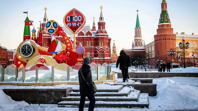 The FIFA World Cup 2018 countdown clock in Moscow marked 100 days to the beginning of the tournament last week. Picture: Mladen Antonov/AFP