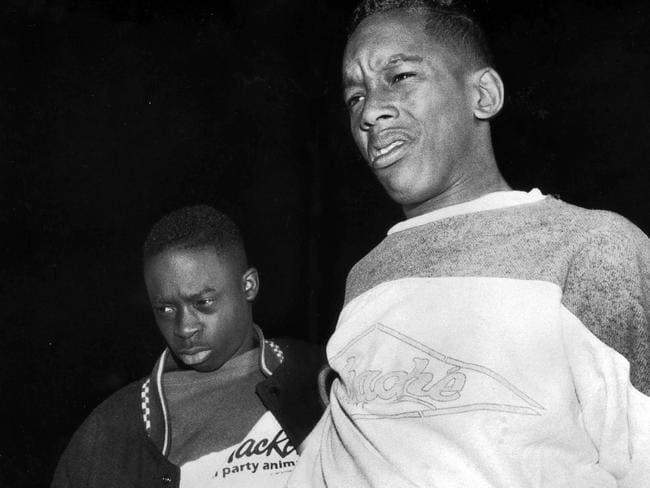 Accused ... Kharey Wise, 16 (right) and Antron McCray, 15 (pictured in 1990), were falsely accused of beating and raping a jogger in Central Park in 1989. Picture: New York Post