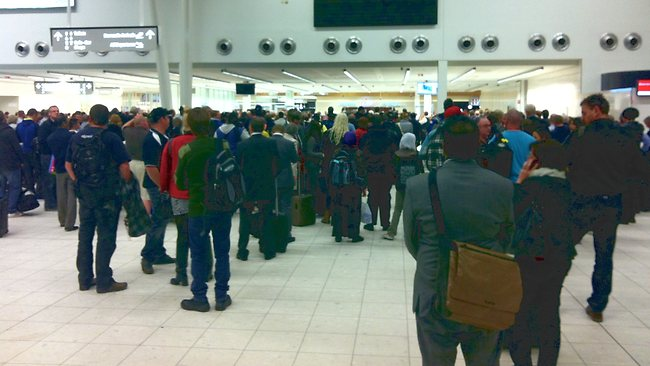 Hundreds of passengers were affected by the lockdown of Adelaide Airport, prompted by a security alert. Picture: NewsForce
