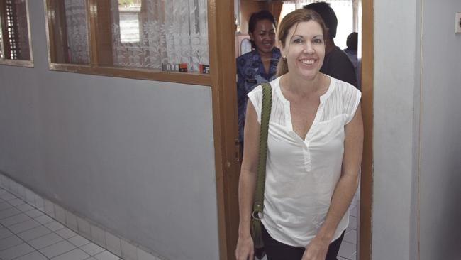 Mercedes Corby walks outside the head of Denpasar Correctional Board's office after interview for Corby's parole at Denpasar Correctional Board in Denpasar, Bali in August this year. Picture: Johannes P. Christo