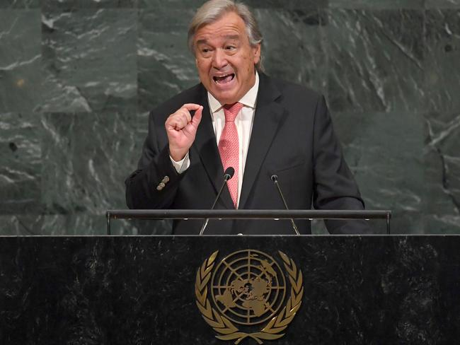 UN Secretary-General Antonio Guterres addresses the 72nd session of the United Nations General Assembly at the UN headquarters in New York. Picture: AFP