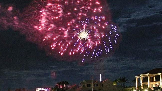 The fireworks over the Port Sails Canal Villa, Mandurah Holiday Home in Western Australia. Picture: Stayz.