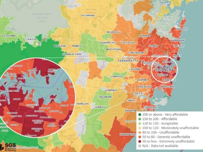 Sydney is the least affordable metropolitan city for renters. The dark red areas are classified as 'extremely unaffordable'. Infographic: SGS Economics & Planning