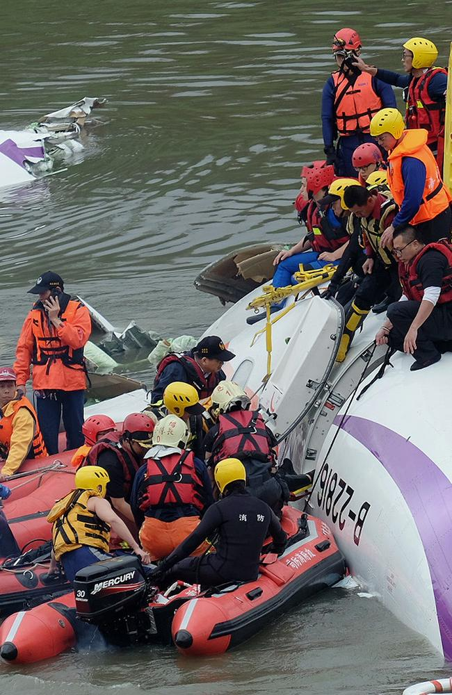 Survivors ... passengers from the TransAsia ATR 72-600 turboprop plane. Picture: AFP