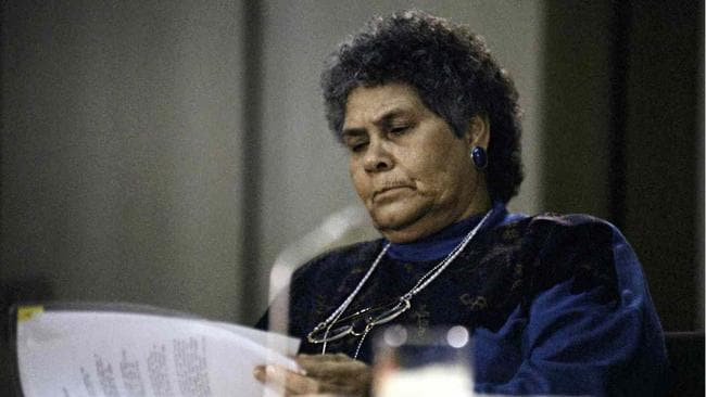 Chairperson of the Aboriginal and Torres Strait Islander Commission (Lowitja (Lois) O'Donoghue at a press conference on Aboriginal deaths in custody, June 1992. Picture: National Archives of Australia