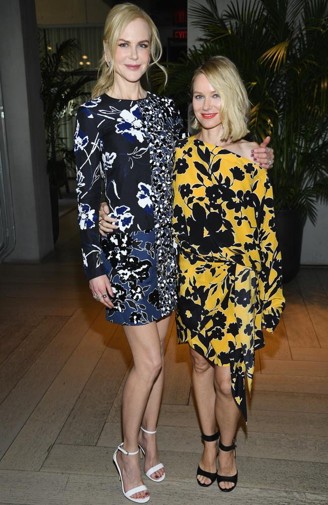 Nicole Kidman and Naomi Watts pose backstage. Picture: Getty for Michael Kors