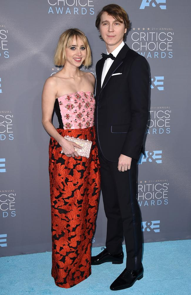 Zoe Kazan and Paul Dano attend the 21st Annual Critics' Choice Awards on January 17, 2016 in California. Picture: AP