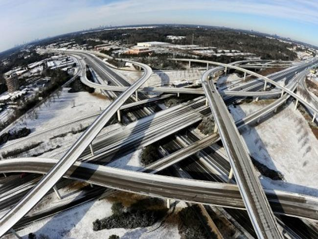 The remains of a snowstorm that swamped Atlanta, US overnight.Picture: AP