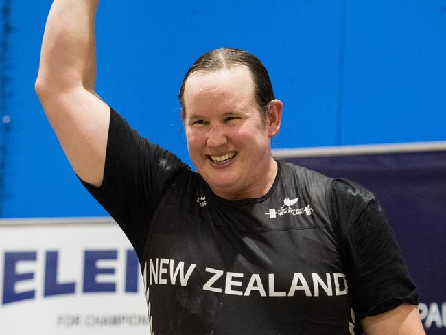 2017 Australian International and Open at Victorian Weightlifting Stadium, Hawthorn, Melbourne. Laurel Hubbard of New Zealand.