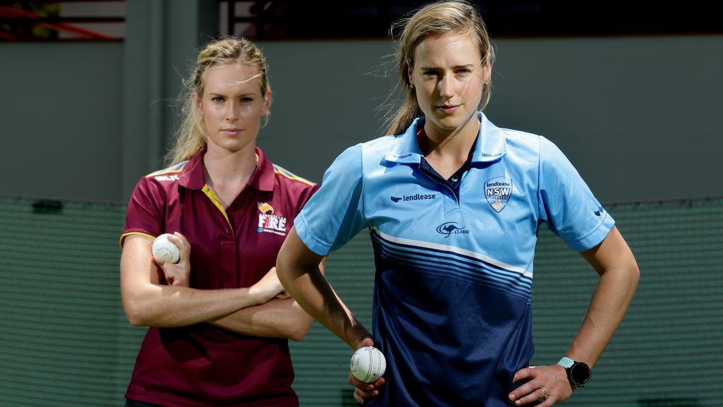 Queensland's Holly Ferling and NSW's Ellyse Perry ahead of the WNCL final. Picture: Mark Calleja