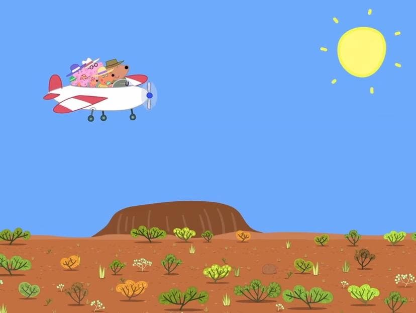 Peppa Pig's Australia holiday — flying over Uluru. Picture: Supplied