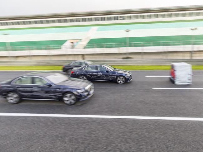 The new Mercedes E Class can automatically brake from 100km/h and avoid a crash. Picture: Supplied / Daimler AG