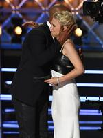 """Kate McKinnon accepts the Outstanding Supporting Actress in a Comedy Series award for """"Saturday Night Live"""" from actor Shemar Moore onstage during the 69th Annual Primetime Emmy Awards at Microsoft Theater on September 17, 2017 in Los Angeles, California. Picture: Getty"""