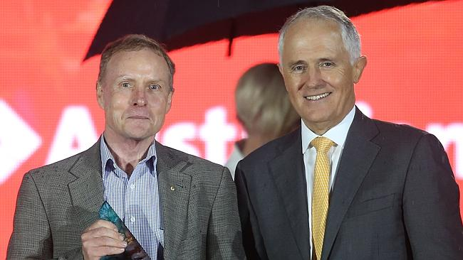 2016 Australian of the Year David Morrison AO with PM Malcolm Turnbull at an awards ceremony at Parliament House in Canberra. Picture: Gary Ramage
