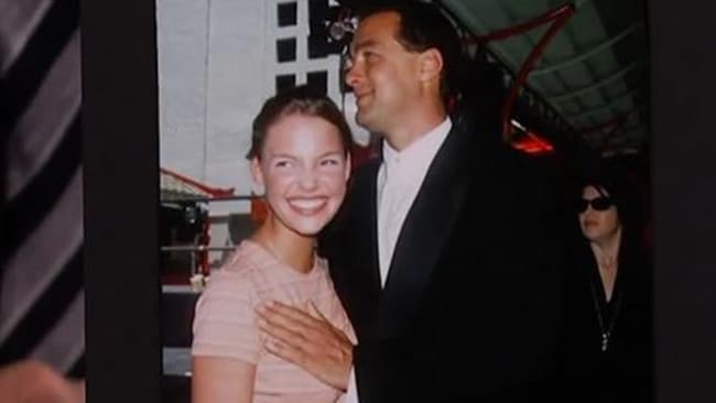Actress Katherine Heigl with action star Steven Seagal at just 16 in this photo. Picture: Supplied.