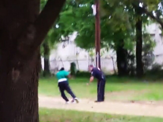 Confusion ... The moment after the scuffle where Officer Slager said Mr Scott took his Taser and he feared for his life. Picture: Supplied