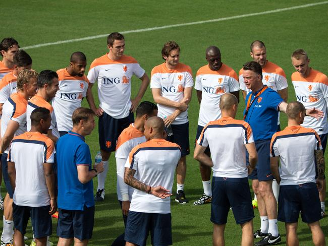 Netherlands coach Louis van Gaal holds court at training when laying down instructions for his players.