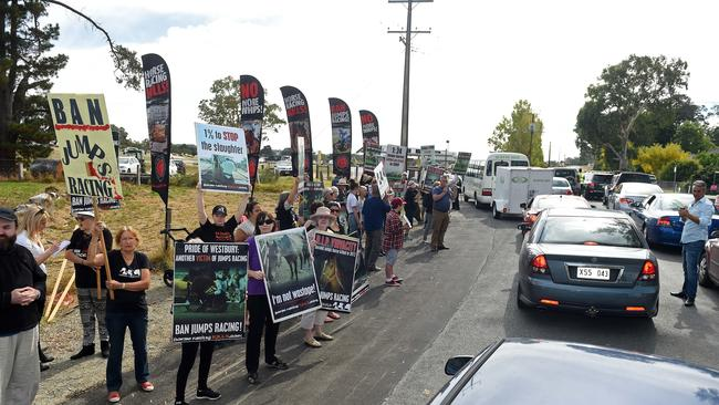 Protesters line the streets around Oakbank Racecourse. Picture: Tom Huntley