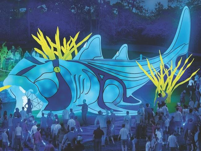 Vivid Sydney's wildest precinct is back at Taronga Zoo with incredible giant animal light sculptures, including a Port Jackson shark.