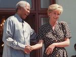 PIRATE: South African /Pres Nelson Mandela meets with Diana, Princess of Wales at Cape Town home 17/03/97 during Princess' private visit to South Africa. Royals P/R