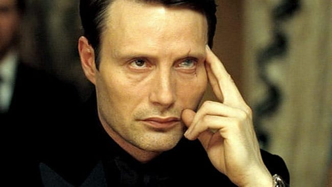 Terrorist gambler Le Chiffre bet big in Casino Royale but his hand was a bust. Picture: MGM / Sony
