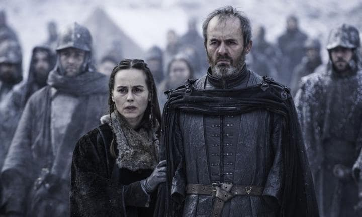 Stannis Baratheon and Selyse allow 'The Red Queen' Melisandre to burn their daughter Shireen at the stake.