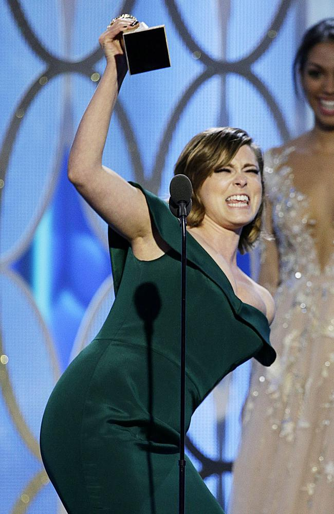 "Rachel Bloom accepts the award for Best Actress - TV Series, Comedy or Musical for ""Crazy Ex-Girlfriend"" during the 73rd Annual Golden Globe Awards at The Beverly Hilton Hotel on January 10, 2016 in Beverly Hills, California. (Photo by Paul Drinkwater/NBCUniversal via Getty Images)"