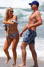 Keira Maguire and Jarrod Woodgate have confirmed their relationship after being pictured together at Iluka Beach on the NSW North Coast. Picture: Matrix
