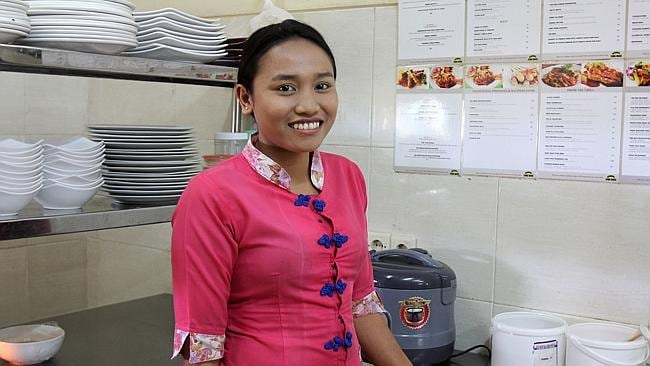 Waitress Gusti Ayu Mentari Dewi served the mother and daughter and said they were cheerful and happy throughout the meal.
