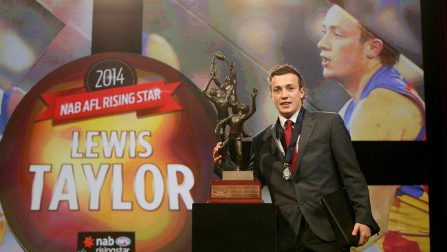 Brisbane Lion Lewis Taylor after being crowned the AFL Rising Star. Picture: Colleen Petch