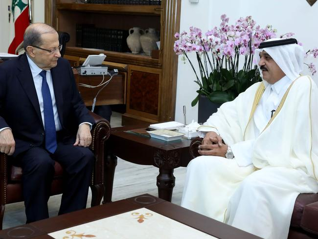 Lebanese President Michel Aoun (L) meeting with Qatar's ambassador to Lebanon Ali bin Hamad Al Marri in Beirut. Picture: AFP / DALATI AND NOHRA