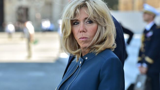 "Brigitte Macron, wife of the French president. Donald Trump said she was ""in good shape"". Picture: AFP."