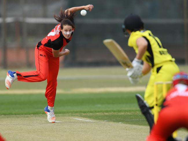 Schutt during the WNCL match between South Australia and Western Australia. Pic: Mark Brake/Getty Images