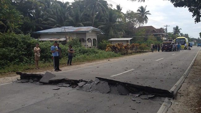 Roads were damaged by the quake. Picture: via Twitter