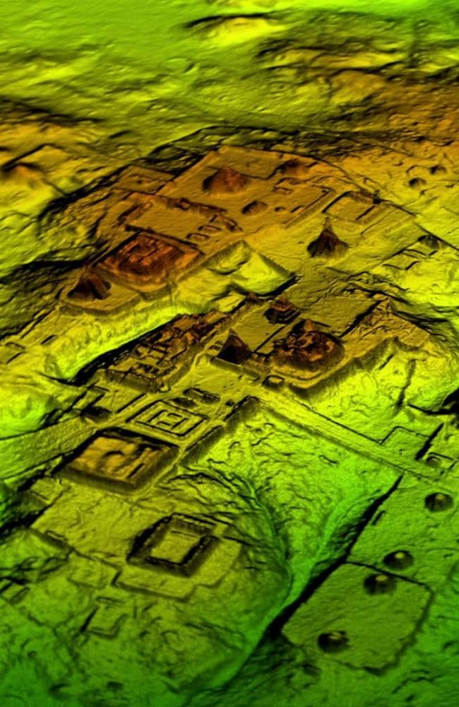 A three-dimensional representation of the 'echoes' returned by Mayan ruins buried under the forests of Guatemala reveal a ceremonial centre, roads and defensive works. Picture: National Geographic/The Lost Maya City