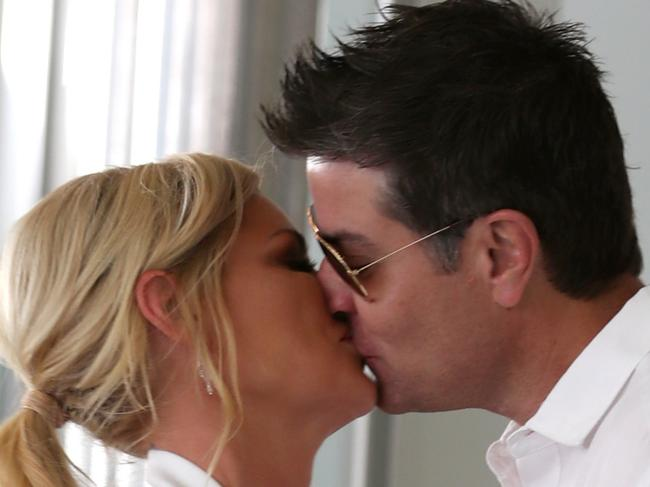 ONE TIME WEB USE ONLY - FEE APPLIES FOR REUSE - EXCLUSIVE We are definitely still on Sophie Monk and Stu Laundy seal their love with a kiss. Taken on 21 November 2017. Picture: Diimex