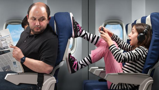 55 per cent of Aussies think having your chair kicked is the most frustrating thing on a plane trip. Picture: iStock