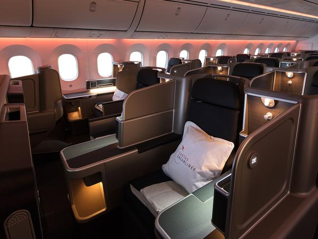 The luxurious business class. Picture: AAP/Qantas, Brent Winstone