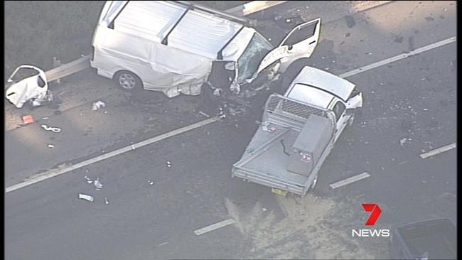 The crash investigation unit is on the scene. Picture: Seven News