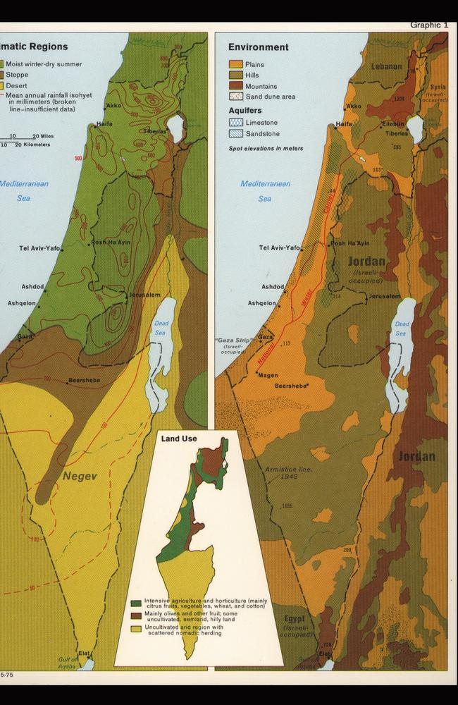 This 1975 map of Israel is among the collection of declassified maps. Picture: CIA