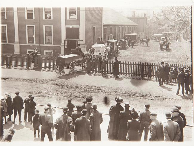 A photograph of horse-drawn hearses carrying the bodies of those who lost their lives on the Titanic dated May 9th 1912. Picture: Adam Gasson/Alamy