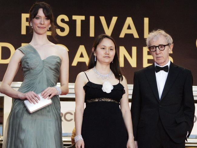 Rebecca Hall, left, at Cannes with Woody Allen and his wife Soon-Yi for Vicky Cristina Barcelona in 2008. Picture: AP